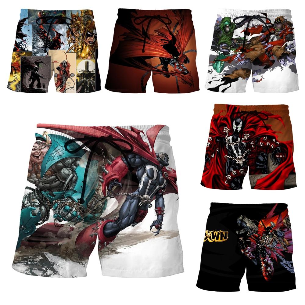 LIASOSO Summer Men Women Jim Downing 3D Print Anime Movie Spawn Shorts Beach Fitness Hip Hop Casual Street Sports Pants A312-14