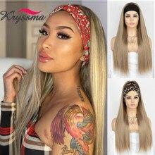 Kryssma – perruque synthétique lisse et soyeuse pour femme, postiche avec bandeau doré, brun naturel/doré, entièrement faite à la Machine
