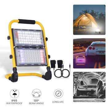 LED flood light 50W 100W rechargeable portable flood light camping light three modes + strobe function for camping outdoor yupard 100w 50w flood light searchlight spotlight brightness led flashlight outdoor camping 18650 rechargeable battery charger