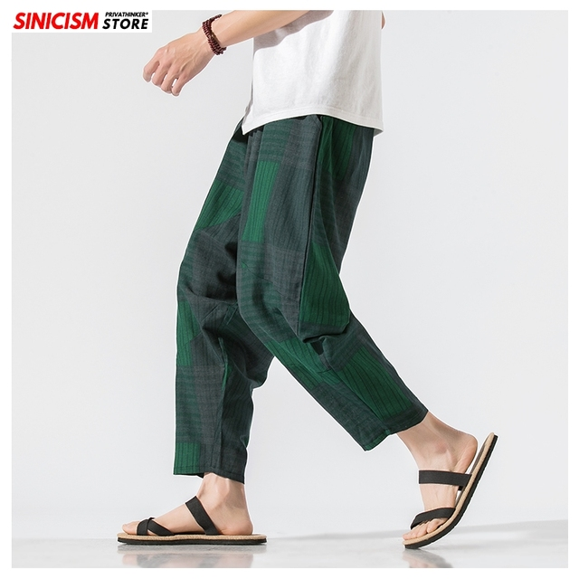 Sinicism Store Men Patchwork Harem Pants Mens Breathable 2020 Chinese Style Loose Joggers Male Summer Pants Oversize Bottoms 13