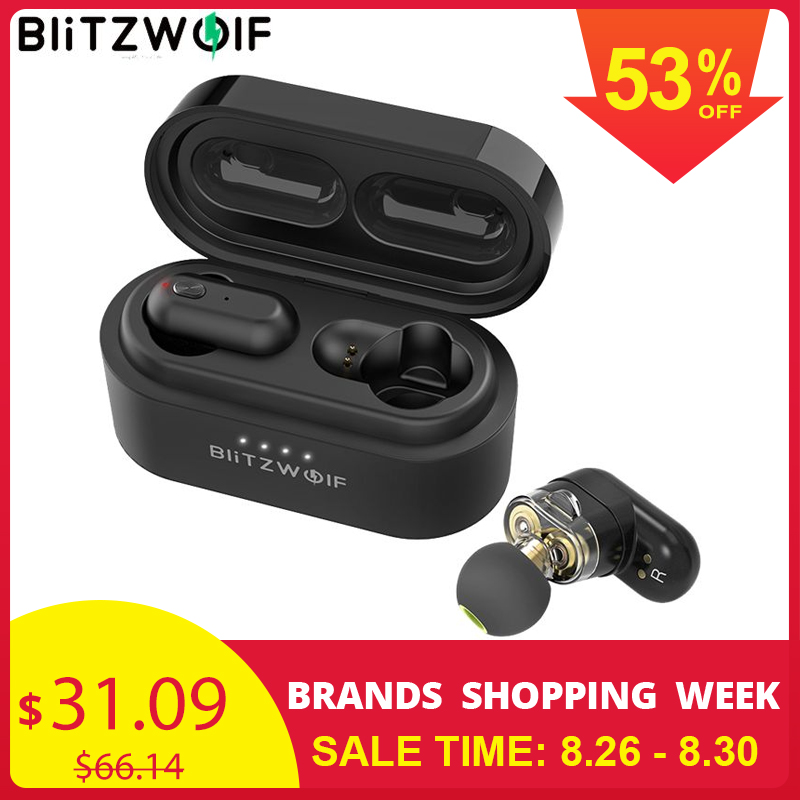 Blitzwolf Bilateral Call-Earbuds Charging-Box Dual-Dynamic-Driver In-Ear earphone Bass-Stereo