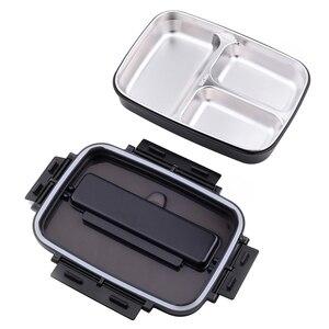Image 2 - المحمولة 304 الفولاذ المقاوم للصدأ بينتو صندوق مع 3 مقصورات علب الاغذية مانعة للتسرب الميكروويف التدفئة الغذاء الحاويات أدوات المائدة الكبار