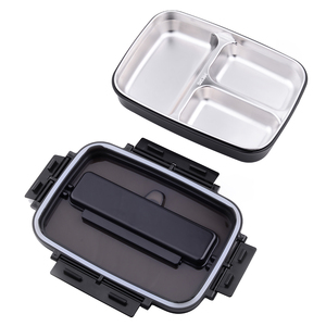 Image 2 - Portable 304 Stainless Steel Bento Box with 3 Compartments Lunch Box Leakproof Microwave Heating Food Container Tableware Adults