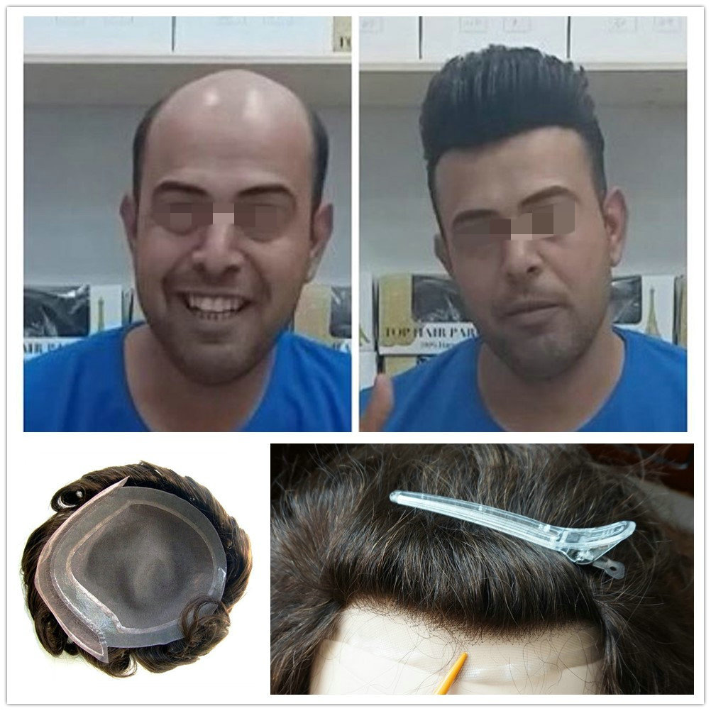 Hstonir Indian Remy Hair Toupee Swiss Lace Mono Wig Human Hair Replacement System For Men Heavy Density H046