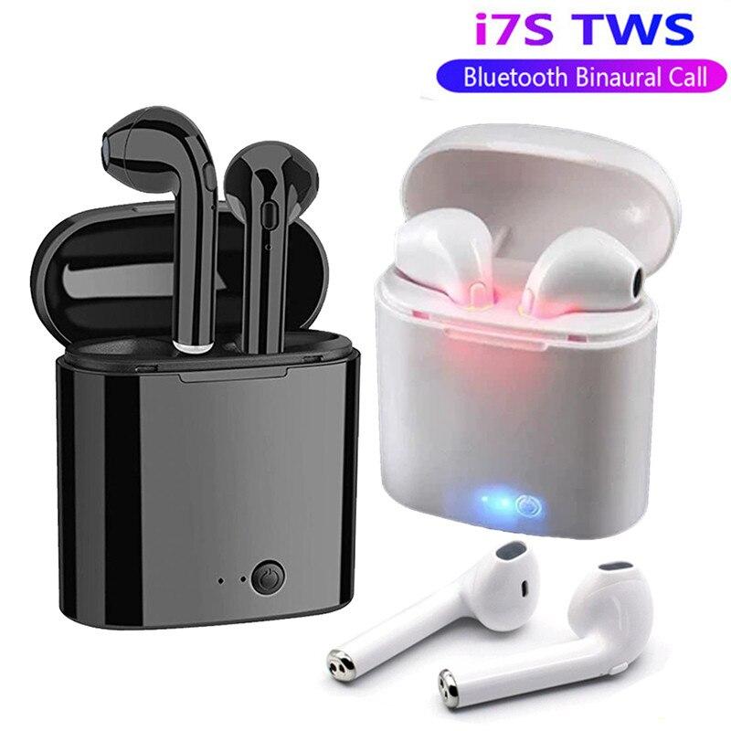 Tüketici Elektroniği'ten Bluetooth Kulaklık & Kulaklıklar'de Bluetooth kulaklık I7s TWS spor spor kablosuz kulaklık Stereo kablosuz Bluetooth kulaklık şarj kutusu ile tüm telefon için
