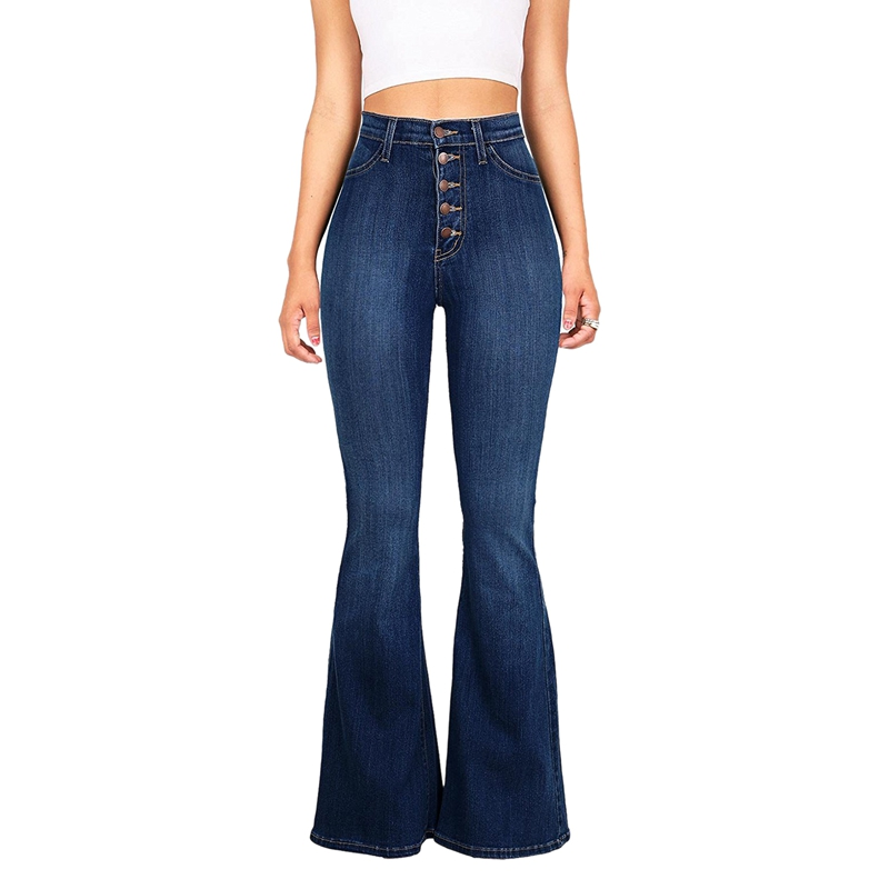Women Vintage High Waist Stretchy Multi Button Fit Flare Jeans Ladies Casual Washed Denim Trousers Dark Blue XXL