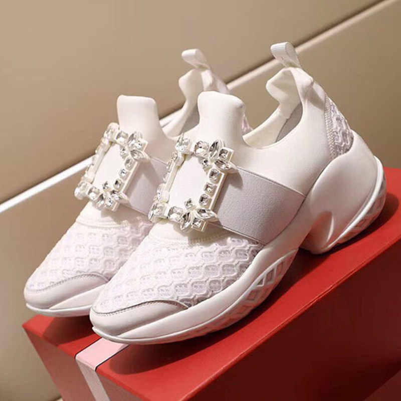 Chun Bụng Sneakers Nữ Thời Trang Khóa Vuông Pha Lê Giày Lưới Phẳng Nền Tảng Giày Sneakers Nữ Zapatos De Mujer 2020