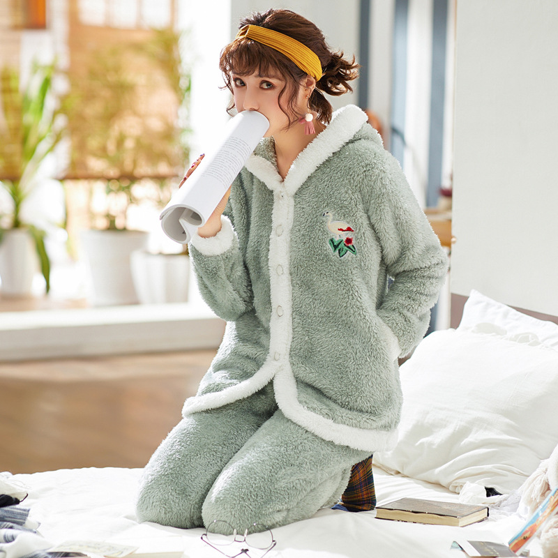 Double Coral Cashmere Pajamas For Women Autumn And Winter Cartoon Hat With Thick Warm Fashion Home Wear Two Sets