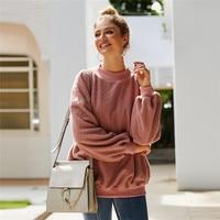 Women Fleece Pullover large size Teddy Wool women casual sweatshirt Stand collar Winter Warm hoodies with pocket Female WQ134