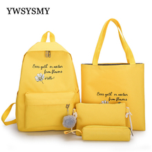 4 Piece Set High School Backpack Bags for Teenage Girls 2020 Canvas Travel Backpack Women Bookbags Teen Student School Bags cheap YWSYSMY Cotton Fabric CN(Origin) Embossing Softback 20-35 Litre Interior Compartment Soft Handle Flowers Letter zipper Solid Bag