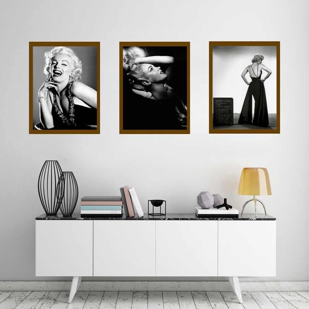 الكلاسيكية الممثلة مارلين مونرو الملصقات HD طباعة مقاوم للماء قماش اللوحة الرسم على لوحات القماش الجدارية صور ديكور المنزل الشرفة