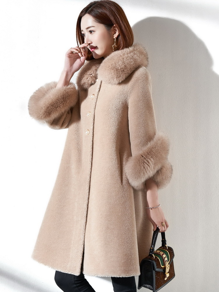 Fur Real Coat Female Sheep Shearling Fur Korean Jackets 2020 Winter Jacket Women Fox Fur Collar Long Wool Coat MY3531