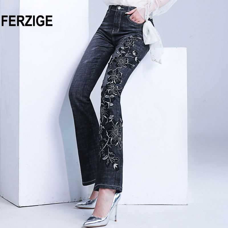 FERZIGE Women Jeans with Embroidery Manual Embroidered Black Blue High Waist Denim Pants Hand Beads Bell Bottom Stretch Female