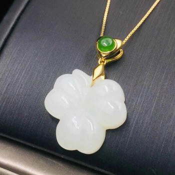 Real 925 Silver White HeTian Jade Chinese Style Carved Knot Design Lucky Pendant + Chain Necklace For Women Fine Jewelry Certifi