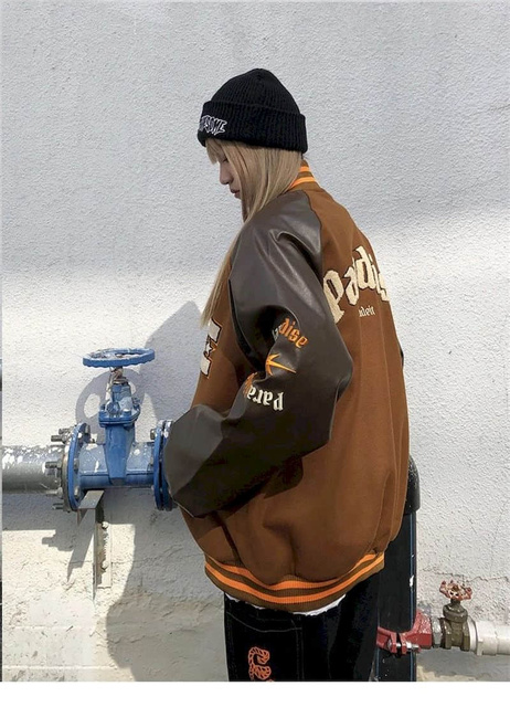 2021SS Bomber Woman Jacket Hip Hop Furry Bone Patchwork Color Block Jackets Mens Harajuku Streetwear Men Baseball Coats Unisex 6