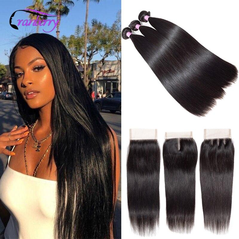 Cranberry Hair Remy Peruvian Hair Bundles Deal 4Pcs/Lot Straight Hair Bundles With Closure 100% Human Hair Bundles With Closure