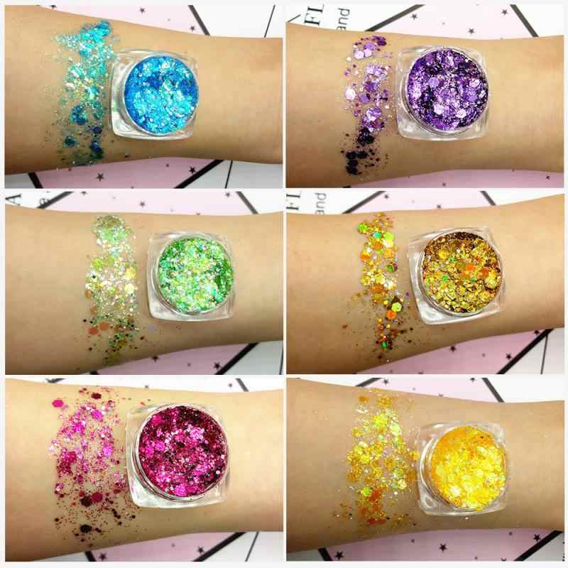 19 Warna Putri Duyung Payet Gel Hologram Payet Glitter Shimmer Diamond Eye Shadow MakeUp Festival Pesta TSLM1
