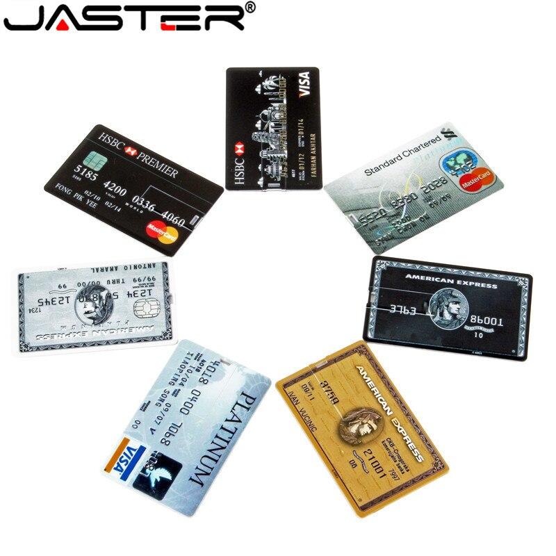 JASTER Credit Card USB Flash 8GB 4GB 16GB  USB 2.0 Flash Stick 32GB Pen Drive Memory Stick 64GB Pendrive Real Capacity USB Key
