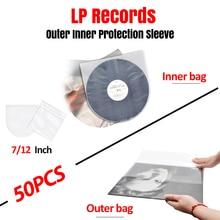 LEORY 50PCS Record Player LP Protection Storage Inner Bag for Turntable LP Vinyl Records CD Vinyl Record 12 30.6cm*30.8cm