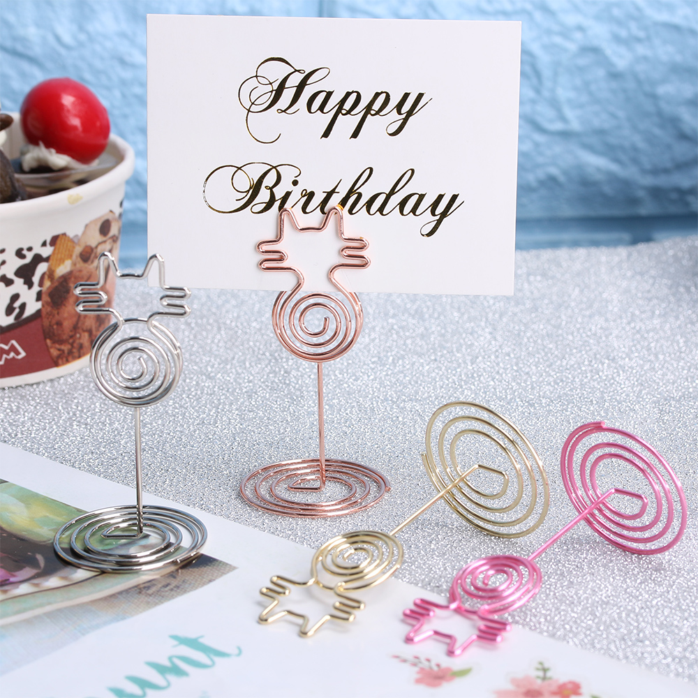 Desk Notes Folder Cat Shape Circle Clips Wedding Favors Seat Place Card Holders Table Photo Memo Number Name Clips Message Clips