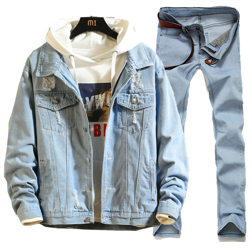 Men Boy Jean Denim Jacket Outerwear Coat Ripped Bomber Biker Long Pants Trousers Set Casual Blue Black Autumn Spring Wear