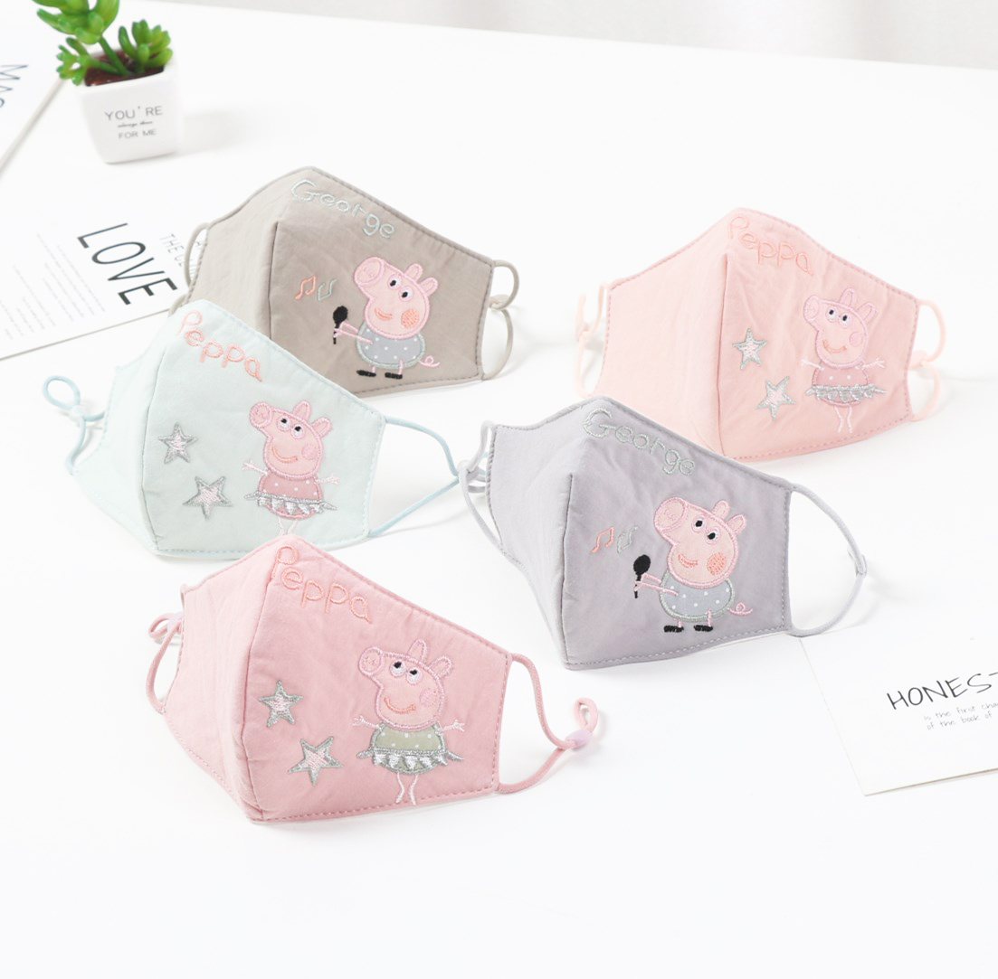 Peppa Pig Original Doll Toys Half Muffle Face Mask Kids Peppa Pig Dolls Cotton Dustproof Cartoon Mouth Masks Breathable Kid Gift