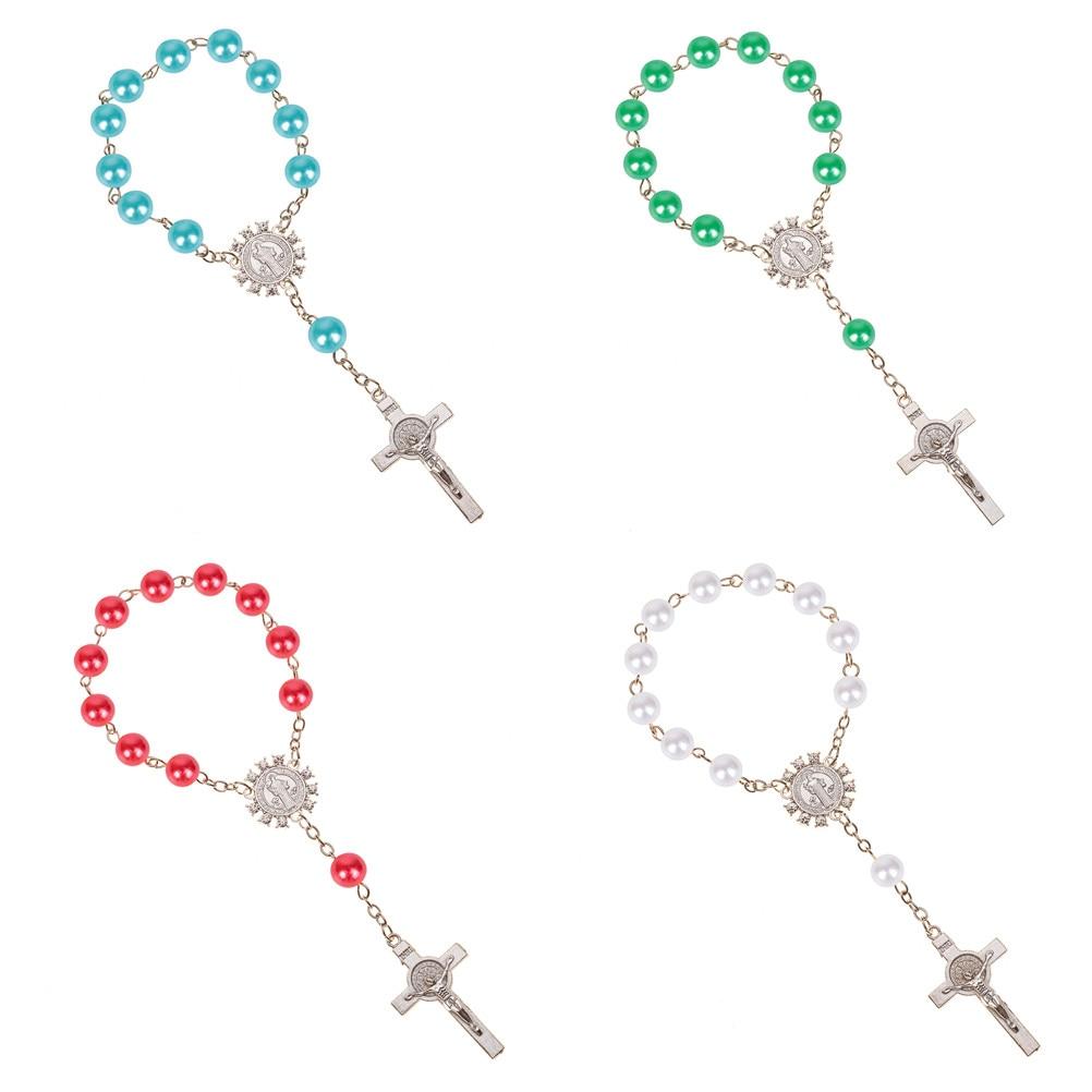 Imitazione Perla Perline Perle del Rosario Cattolico Cattolica Santa Comunione argento Ali di colore Crocifisso Pendenti con gemme e perle Del Braccialetto nizza regalo 1