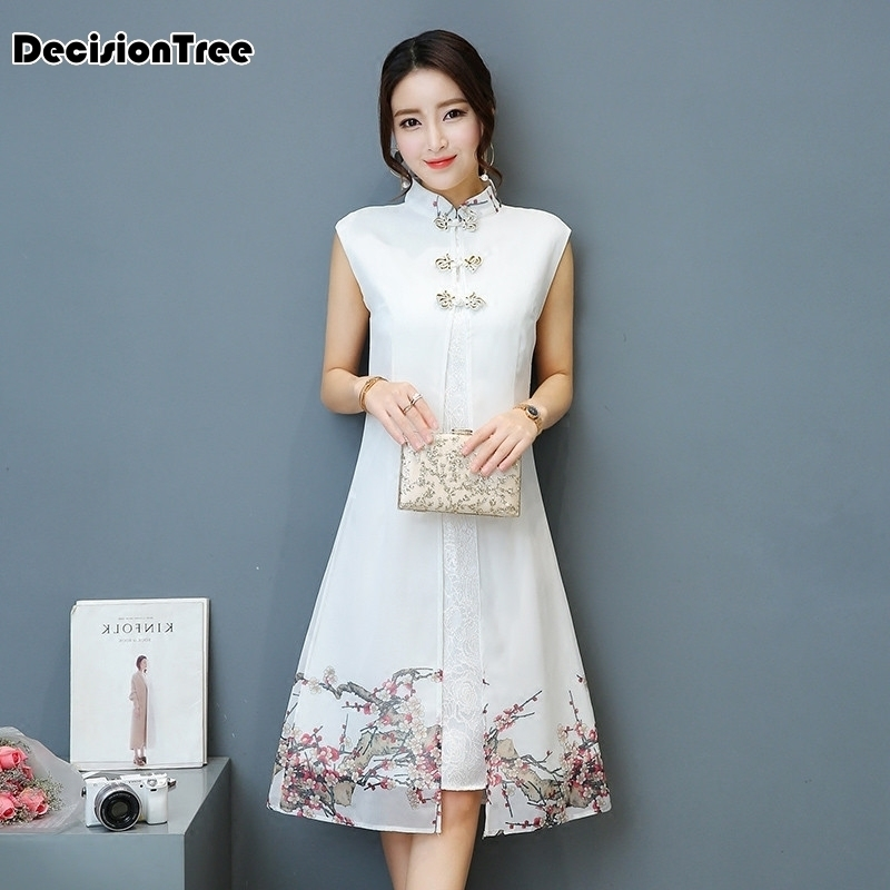 2020 Aodai Cheongsam Dress Traditional Oriental Clothing Ao Dai Dresses Short Lace Dress For Women Vietnam Qipao Dress