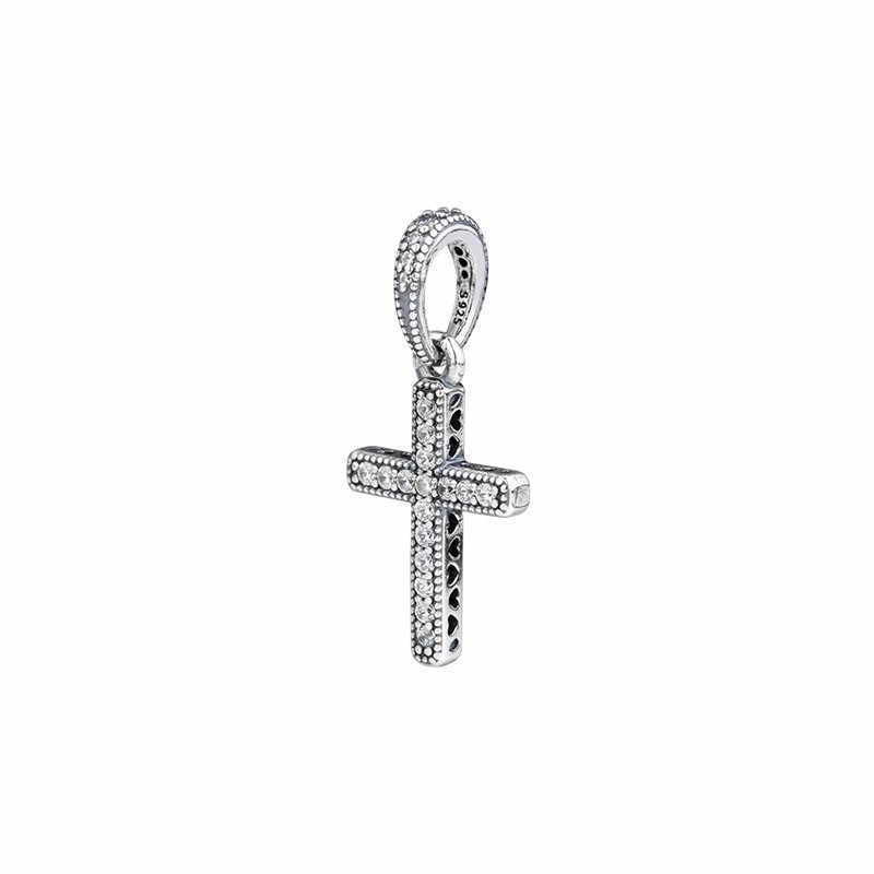 Klasik İsa çapraz kolye uçları kadınlar için bilezikler gümüş 925 takı temizle CZ kristal takılar takı yapımı için