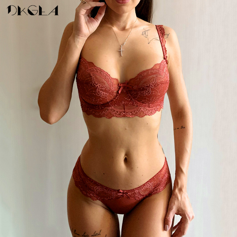 Ultrathin Bra Panties Sets Transparent Brassiere Sexy Underwear Set Plus Size D E Cup Embroidery Women Lingerie Set Lace Bras
