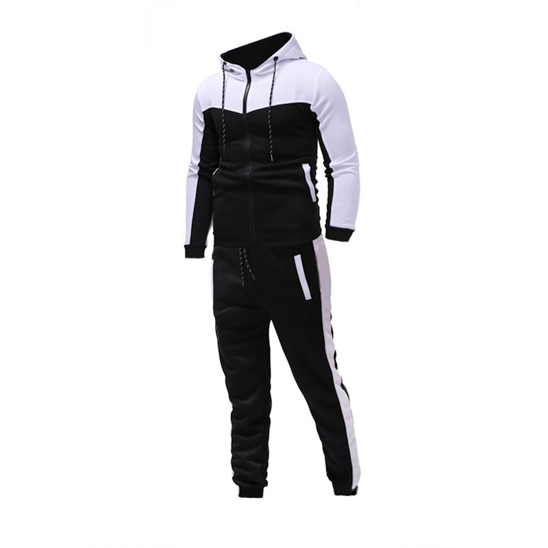 2020 Men Long Sleeve Hoodies+Pants Sets Male Tracksuit Patchwork Sport Suit Men's Gyms Set Casual Sportswear Suit Fit