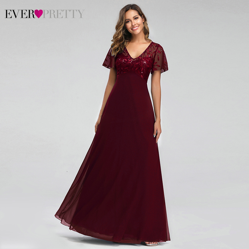 Sparkle   Evening     Dresses   Long Ever Pretty A-Line V-Neck Sequined Short Sleeve Elegant Formal Party   Dresses   Vestido Longo 2019