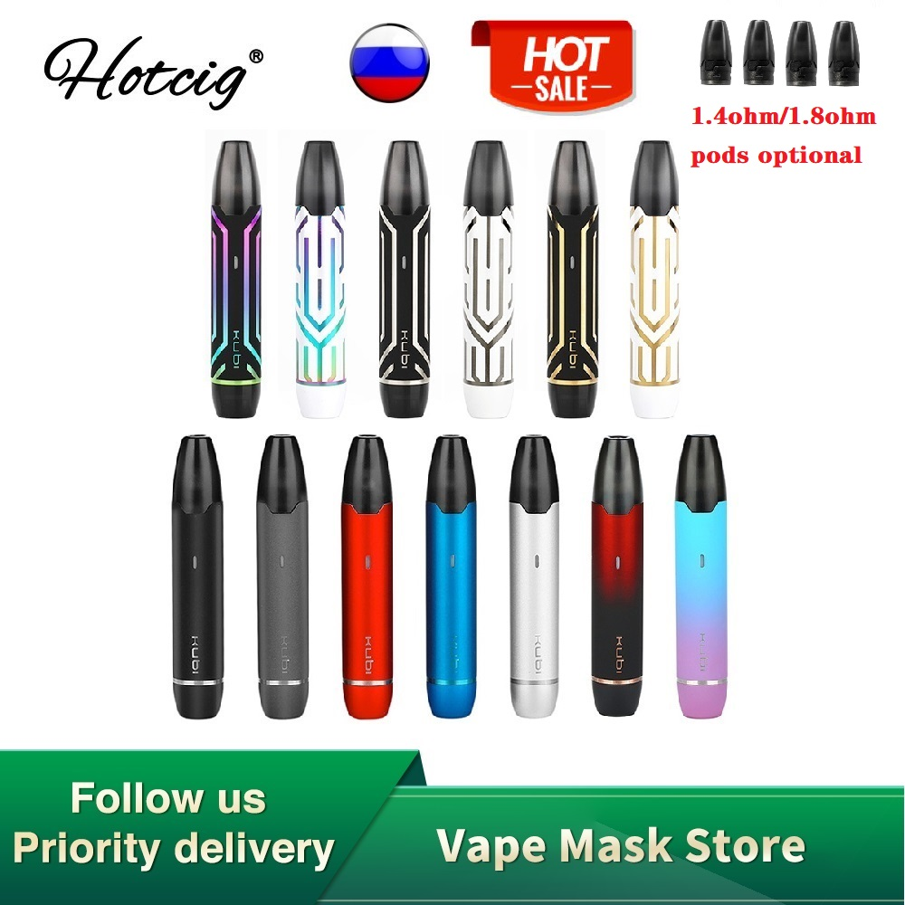 Original Hotcig Kubi Pod Starter Kit Built-in 550mAh Battery With 1.7ml Pod Capacity & 1.8ohm Ceramic Coil VS Minifit / VINCI X
