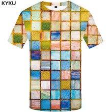 KYKU Brand RubikS Cube T-shirt Men Square T-shirts 3d Russia Shirt Print Geometric Anime Clothes Harajuku Tshirts Casual