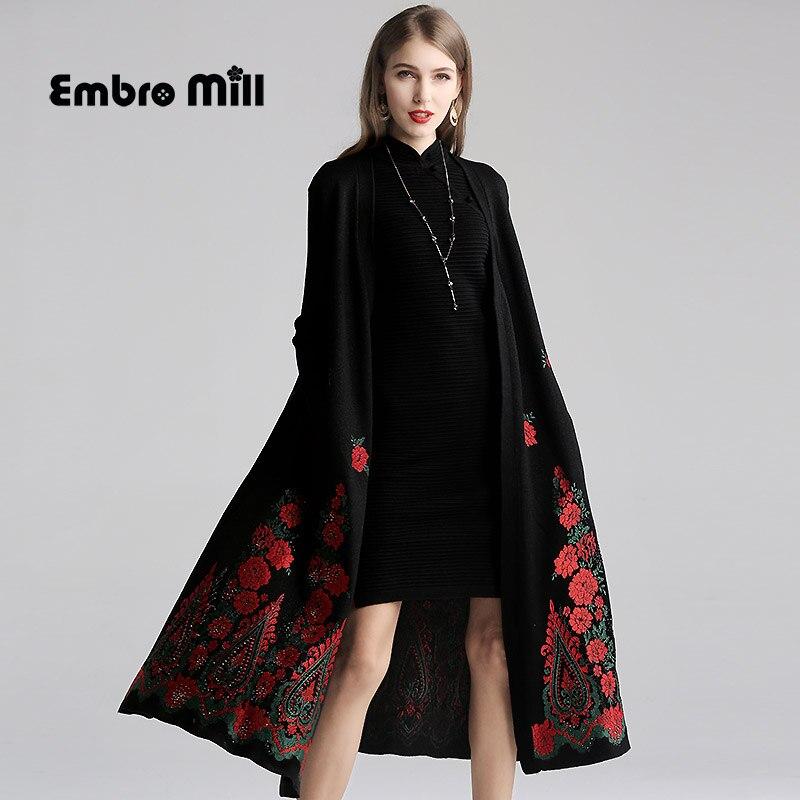Осеннее трикотажное длинное пальто в китайском стиле с вышивкой в виде сердца и бриллиантов, свободное Женское пальто в стиле ретро, один ра