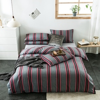 100%Cotton 4Pcs Queen King size Duvet Cover Set Gingham Plaid Geometric Stripe Pattern Bedding set Flat/Fitted Sheet Pillowcases