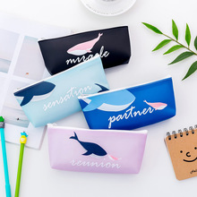 New cute whale series inverted trapezoid pencil bag Korean creative student stationery