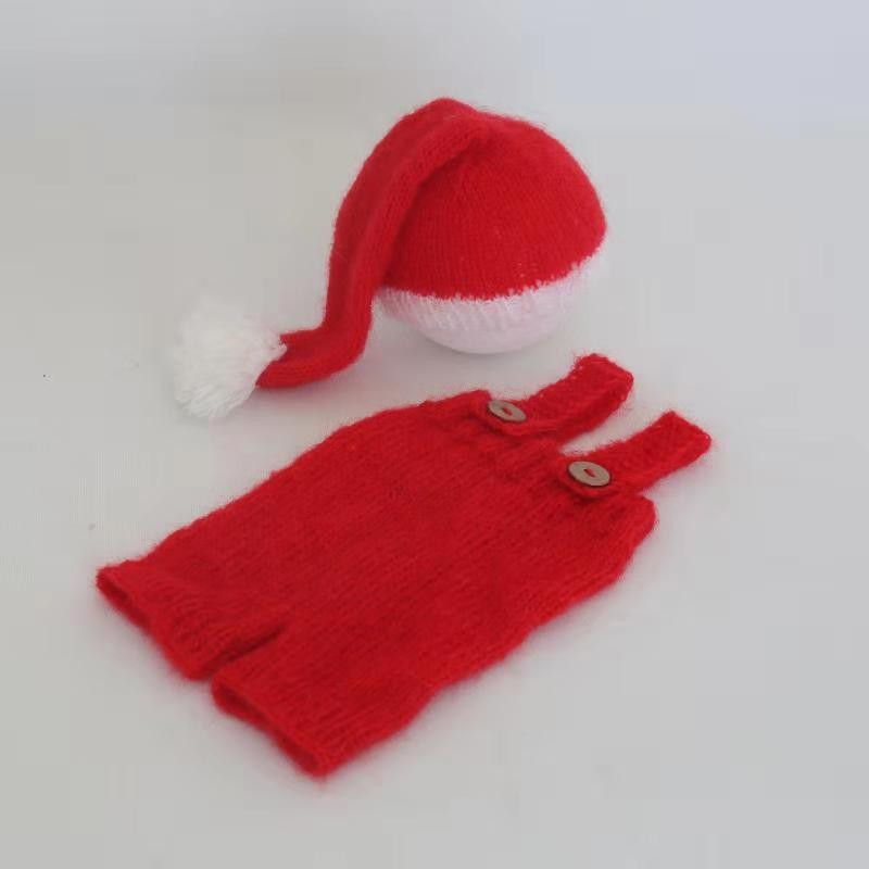 Vintage Baby Christmas Clothes for Photography Shoot Newborn Santa Sleepy Hat Knitted Baby Romper Bonnet Set Newborn Photo Prop