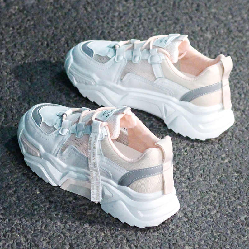 2020 รองเท้าผ้าใบสตรีรองเท้าแฟชั่นหนาตะกร้า Femme Trainers Zapatos Mujer Casual Chunky รองเท้าผู้หญิง