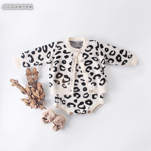 Baby Girl Clothes Autumn Leopard Knitted Baby Clothes Newborn Baby Girl Romper Cotton Baby Cardigan Sweater Romper Jumpsuit(China)