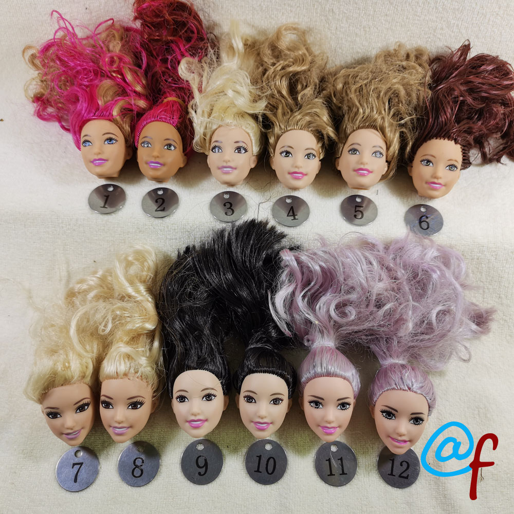 B44-2 Original Foreign Trade South Asia Beauty 1/6 OOAK NUDE Doll Head Mussed Claret-red Hair For DIY