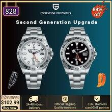 PAGANI DESIGN-Reloj de acero inoxidable para Hombre, de 42mm, automático, GMT, 316L, 2021 m, zafiro, resistente al agua, nuevo de 100