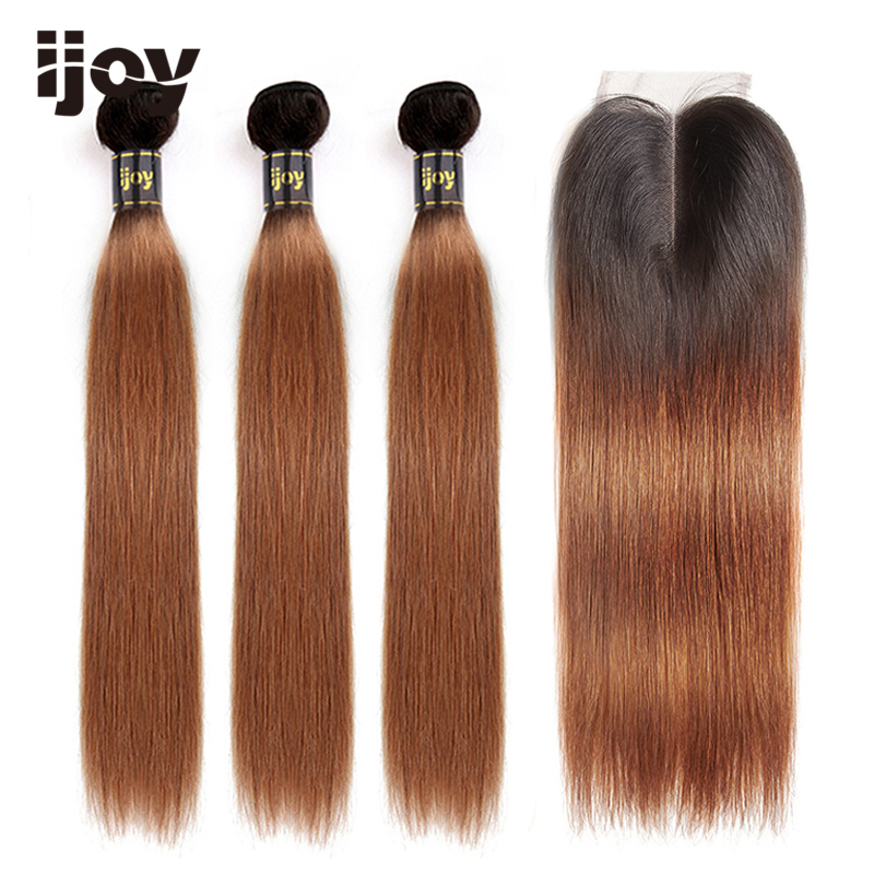 "Ombre Straight Human Hair 3 Bundles With Closure 4x4 Lace #30 Brown Caramel 8""-26"" M Brazilian Hair Weave Bundles Non-Remy IJOY"