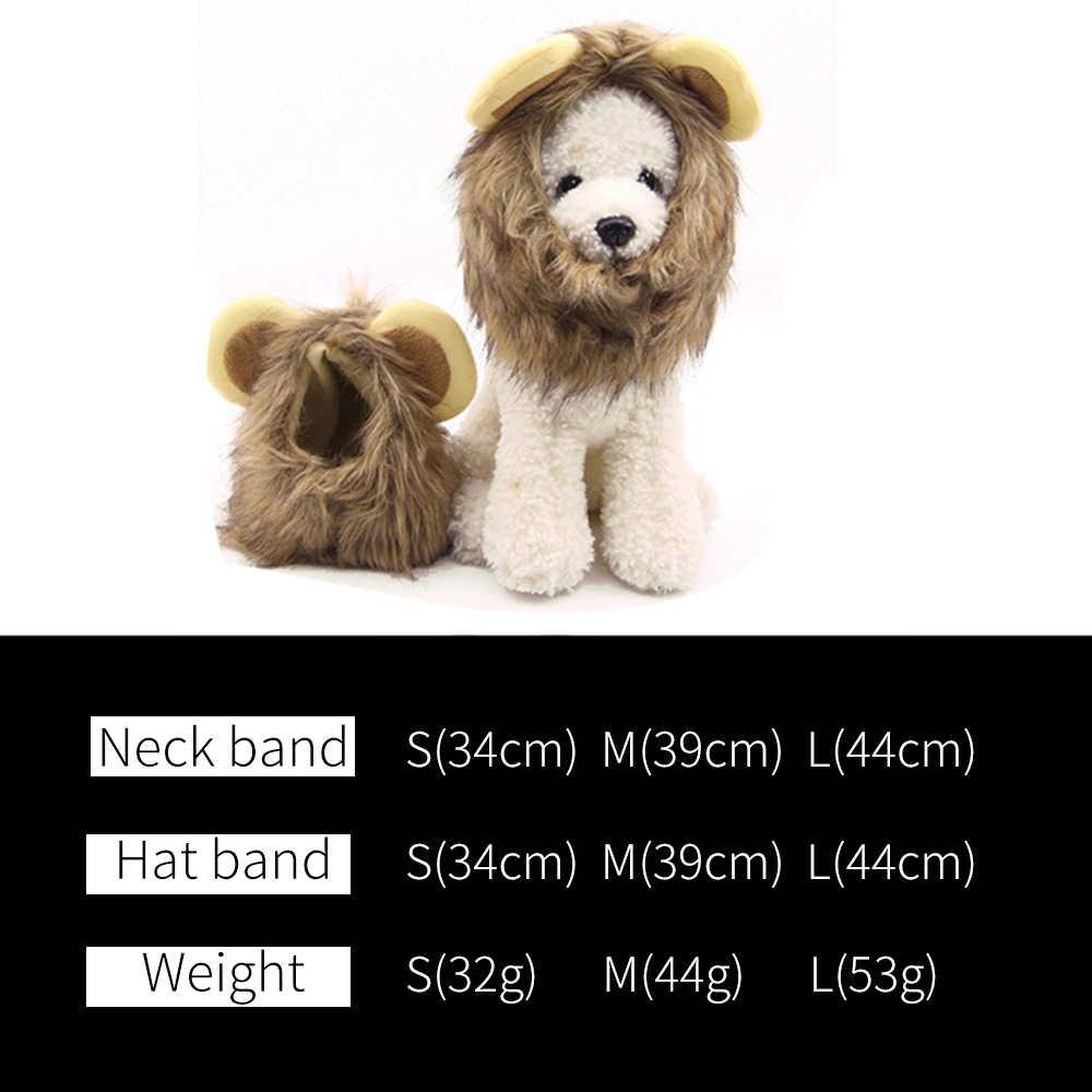 S/M/L Creative animal chat chien émulation Lion cheveux crinière oreilles tête chapeau automne hiver habiller Costume silencieux écharpe accessoires pour animaux de compagnie