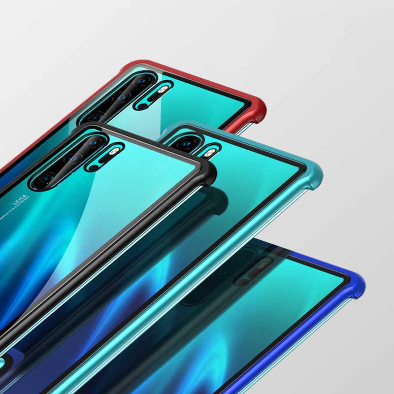 R-just Push Pull marco de Metal para Huawei P30 Pro funda de aluminio parachoques cubierta de vidrio templado en Huawei P30 p30 Pro