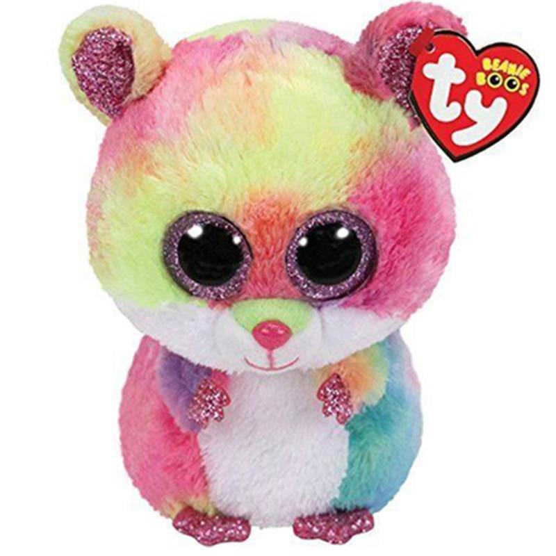 15 см Ty Beanie блестящие большие глаза Родни цвет хомяк Симпатичные мягкие плюшевые животные куклы детские игрушки подарки на день рождения
