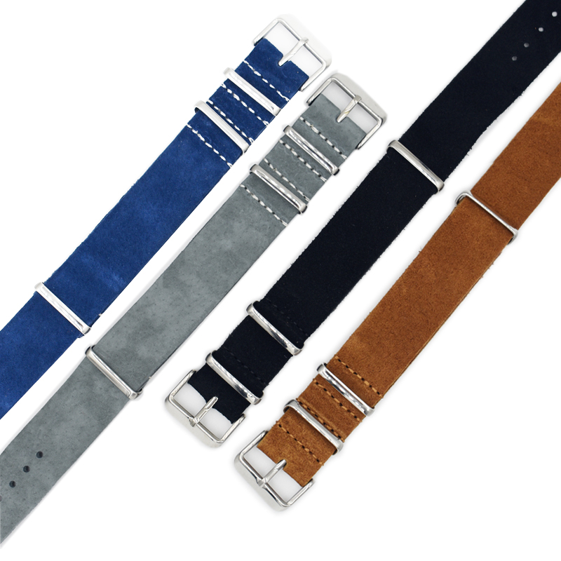 Onthelevel Nato Strap 20mm 22mm Zulu Watch Strap Grey Yellow Blue Soft Suede Watchband Stainless Steel Square Buckle #D