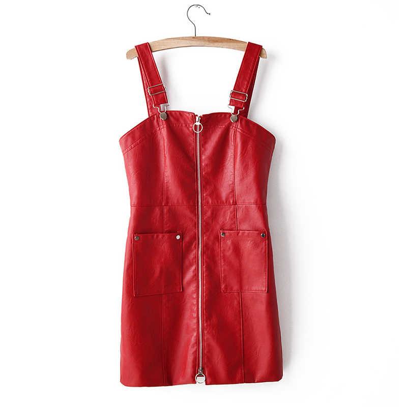 Vestido de couro feminino macio do falso do plutônio vestido de couro sem mangas sem costas sexy magro retro preto vermelho rosa mini vestido