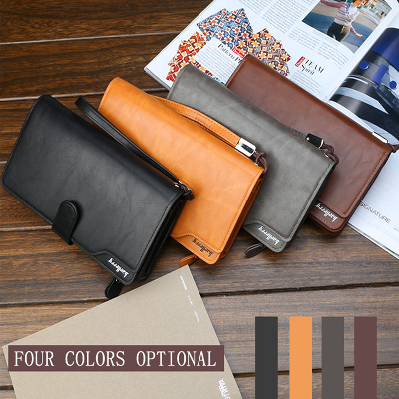 Wholesale Man's Wallet Zipper Handbag Folding Large Capacity New Business Phone Bag 2PCS Lot Sale 4 Colors Good Quality PU