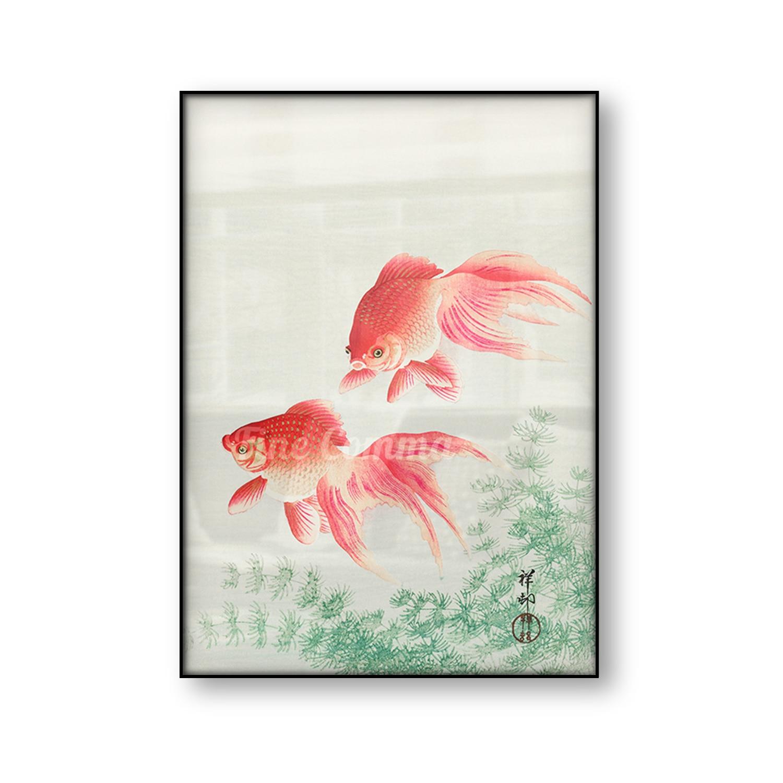 Два вуаль Золотая рыбка японский арт Винтаж плакат азиатская известная картина холст принт животное стены художественное оформление комна...